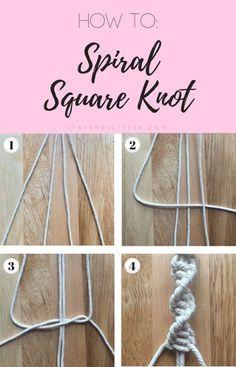 DIY Macrame Plant Hanger, macrame, macrame knits, how to spiral square knot, square knot, simple macrame, easy macrame, beginner macrame, spiral square knot Macramé, macramé knots, macramé diy, macramé décor, #macrame #macramediy