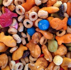kid gorp (goldfish, Cheerios, raisins, teddy grahams, M). Perfect between-meal snack or snack on the go! #camping
