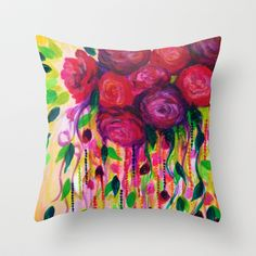 ROSES ARE RAD - Bold Fun Red Roses Floral Bouquet Vines, Flowers Abstract Acrylic Painting Fine Art Throw Pillow by EbiEmporium - $20.00