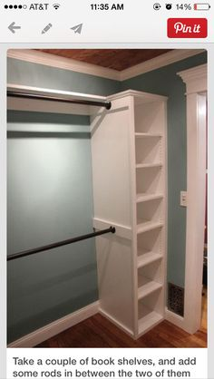 Closet idea: you can do the same set up in front of a smaller closet to expand the space!