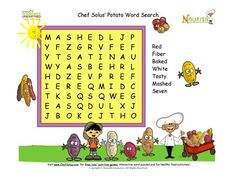 Fun Potato word search puzzles that promotes the healthy potato! 7 word puzzle for younger kids to enjoy.