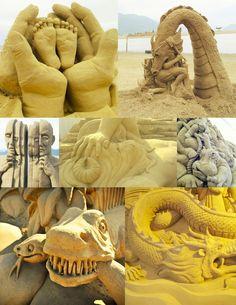sand sculptures! beautiful...    www.thepenelopetheory.com