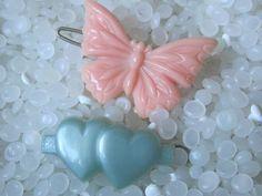 vintage barrettes  tiny pale BLUE double heart  by rosebudcottage