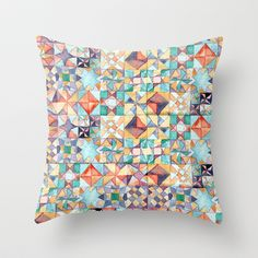 watercolour quilt Throw Pillow by suzy - $20.00