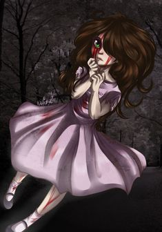 Sally Creepypasta I consider my self her because me and her are a like very much......I love pink and my hair is brown and curly I love my teddybear dresses are my thing and you'd be surprised how much trouble I get in to!!