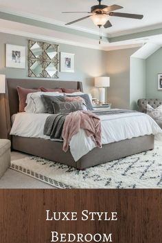 Beautiful gray luxe bedroom! I love the blush details. This would be a very cool teen girl bedroom, with the pink colors and throw pillows! #ad