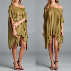 The TANNER poncho tunic top - OLIVE Loose fit, round neck, asymmetrical hemmed poncho-style tunic with slit armholes. Fabric: 95% Rayon, 5% Polyester. AVAILABLE ONLY in DUSTY PINK & OLIVE. Made In: U.S.A, FITS FROM SMALL - XL ‼️️NO TRADE‼️ Tops Tunics