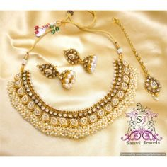 Online Shopping for Beautiful Pearl Polki Zircon Neckla   Necklaces   Unique Indian Products by Sanvi Jewels Pvt. Ltd. - MSANV33389980670
