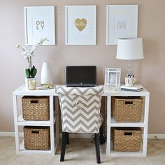 "101 Amazing Pieces You'd Never Guess Were From HomeGoods: If you're anything like us, you've aimlessly entered HomeGoods only to walk out with 12 new decor items that you ""just had to have."" Office Desk, Corner Desk, Chevron, Home Goods, Desktop, Desk, Office Desks, Office Table, Desks"