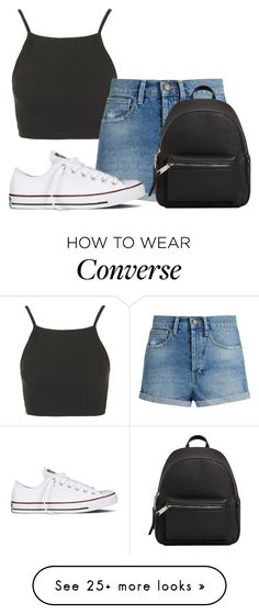 """8:45"" by grrxcia on Polyvore featuring Topshop, Raey, Converse and MANGO"