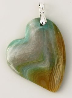 Metaphysical Gifts, Cards, Wrap and Crystals | Life Is A Gift Shop - Green and Yellow Dragon Veins Agate Heart-Shaped Pendant A , $26.00 (http://lifeisagiftshop.com/green-and-yellow-dragon-veins-agate-heart-shaped-pendant-a/)