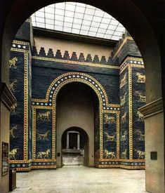 "PERSIAN ART (IRAN) Ishtar Gate from Babylon, Iraq c. 575 B.C. Glazed brick. Jewel-like concentration of ornamental design. Repertory of forms known as ""animal style."" High relief. Hoofs project off surface of gate. Rosette pattern. Reconstruction was built out of material excavated from 1902 to 1914 - 45' of the gate was uncovered.  Currently stands 47' high and 100' wide. ""Insitu"" - not in original site. LOCATION: VORDERASIATISCHES MUSEUM, STAATLICHE MUSEUM, BERLIN"