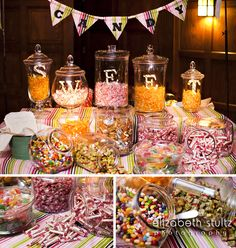 Candy Station at a Wedding Favor - Fall Wedding at Willowdale Estate Photo: Elizabeth Stultz  willowdaleestate.com