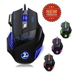 Topop Professionnel 5500 DPI Jeux de Souris Gamer avec Tapis de Souris offert, LED Optique Gaming Mouse 7 Boutons pour Souris Ordinateur…