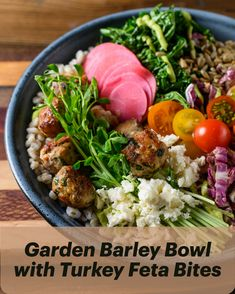 The perfect summer meal, this Garden Barley Bowl is as delicious as it is beautiful! Fried Kale, Pickled Radishes, Whole Turkey, Turkey Dishes, Ripe Avocado, Recipe Inspiration, Cherry Tomatoes, Summer Recipes, Bon Appetit