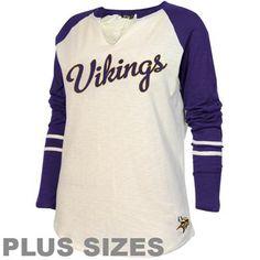 For sunday game day. Minnesota Vikings Sport Envy Long Sleeve T-Shirt - Natural/Purple