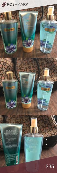 Victoria's Secret Aqua Bliss Bundle VS Aqua Bliss Fragrance has on only been sprayed twice, VS Aqua Bliss Body Wash has never been used, VS Aqua Bliss Body Lotion is 80% full. No separate sales. Victoria's Secret Accessories