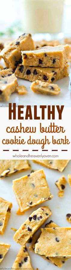 Made completely in the food processor and both sugar AND butter-free, this cookie dough bark is an easier and healthier holiday dessert option.---it's seriously so addicting! @WholeHeavenly