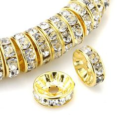 eART 100 Pcs Czech Crystal Rhinestone Gold Plated Rondelle Spacer Charm  Beads 4mm White Jewelry eART 9c0a27c2a365
