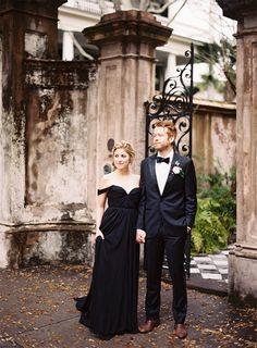 Black and White Wedding Ideas from Tec Petaja via oncewed.com #wedding #bride #groom #classic #southern #charleston #black #weddingdress #romantic #elegant