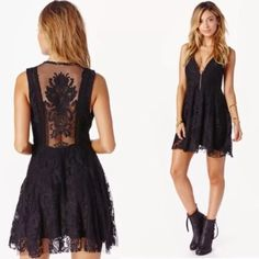 Free People Reign Over Me Dress 0 Free People Reign Over Me black fit and flare lace dress.  Gorgeous crochet back!  Never worn, looking to sell or trade for the white color. Free People Dresses Mini