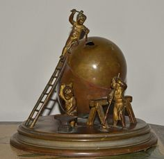Antique Victorian Bronze Figural Inkwell 3 Children Building an Egg