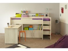Parisot Swan Mid Sleeper in Acacia. The Swan combination is a superb quality midsleeper bed incorporating various storage and work areas. The units includes a 2 door cupboard/shelf unit, a fully removable sliding desk and extra shelf beside the bed for bedtime reading books, light, CD's, etc. It's stylish new Acacia finish made from high ensity particleboard is one of the most solid and robust beds in the range.