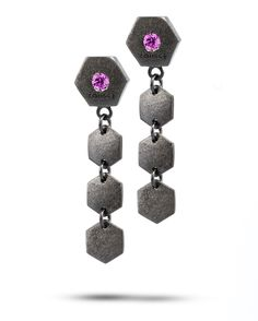 """Hexagon-shaped Earrings, from the recognizable """"hex nut"""" shape symbol of Touscé's collections, are transformed and enriched with the use of colored stones, set by hand, that recall the astral characteristics of the zodiacal signs, both chromatically and figuratively."""