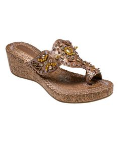 Look what I found on #zulily! John Fashion Brown Embellished T-Strap Sandal by John Fashion #zulilyfinds