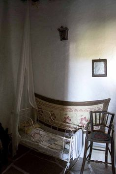 "The Folk Museum in Folegandros, is a quaint museum. In fact is a representative sample of a traditional farm of the century, called ""themonia"" by the. Greek Costumes, Greeks, Folk, Museum, Traditional, Embroidery, Country, Bed, Furniture"