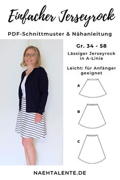 Einfacher Jerseyrock zum selber nähen mit PDF Schnittmuster – Nähanleitung… Simple jersey skirt for sewing with PDF pattern – Sewing Pattern & Sewing Pattern – Gr. 34 – 56 – suitable for all beginners Sewing Projects For Beginners, Knitting For Beginners, Sewing Tutorials, Diy Projects, Sewing Tips, Sewing Hacks, Sewing Patterns Free, Free Sewing, Knitting Patterns