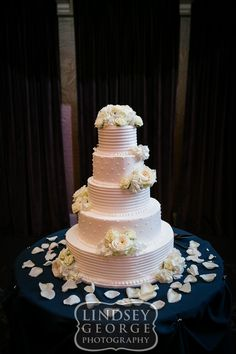Lovely five tier wedding cake by Cupcake Island click to view full gallery The Scoular Ballroom Omaha Nebraska