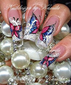 #Butterfly #nail #art - If you like these nails follow my board 'nails adorned'