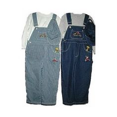 Boy`s 2T-4T Denim Indigo Blue / Stripe Bib Pocket Embroidery Overall 2-PC Sets $12.99 - $26.99