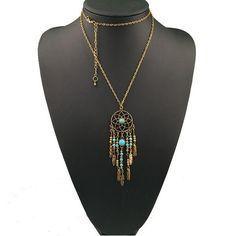 Vintage Long Turquoise Leaves Tassel  Pendant Necklace