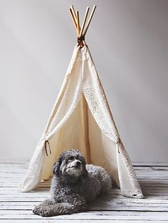 Enchanted Lace Tipi | For the whimsically inclined pet who needs his privacy once in a while, this canvas and lace tipi provides the perfect escape, and is a precious addition to any space as well.  *By Banana J Creations