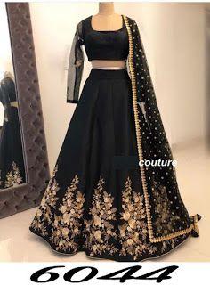 Classic Partywear Black And Gold Colour Designer lehenga Choli – Shree Fab Indian Bridal Outfits, Indian Fashion Dresses, Indian Designer Outfits, Pakistani Dresses, Designer Dresses, Bollywood Dress, Parisian Fashion, Bohemian Fashion, Fashion Black