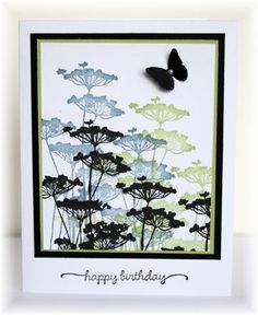 handmade card .... basic design ... all the interest in the stamping ... stmped the silhouette flower three times with black on top ... Stampin' Up!
