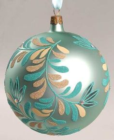 Waterford Holiday Heirloom Ornaments Ashbourne Laurel Aqua Ball - Boxed