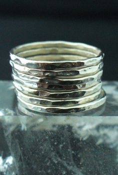 Sterling Silver Hammered 7 Band Stack Ring Set via Etsy