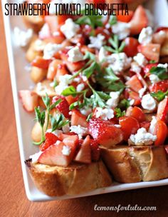 Strawberry Tomato Bruschetta. ☀CQ #appetizers  http://www.pinterest.com/CoronaQueen/appetizers-and-football/
