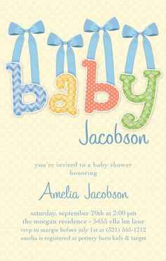 Baby & Bows Blue Baby Shower Invitation