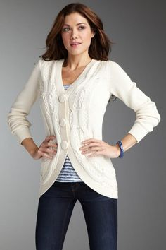 Bask Atelier 3 Button Cable Cardigan     $137