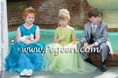 Apple Green and Peacock Teal Silk and Tulle Flower Girl Dresses