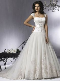 Strapless Cap Sleeves Satin Tulle A-line/princess Lace Wedding Dress .