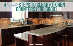 Kick the kitchen counter clutter to the curb! 4 Simple Steps to Clear Kitchen Counters (For Good) via Clean Mama
