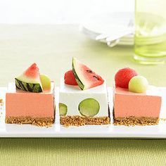 We paired cantaloupe and apricot flavored gelatin; honeydew with Melon Fusion gelatin; and for a pink color use tropical fusion gelatin and top with watermelon.