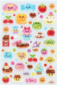 cute hard 3D perfume stickers with snack pancake chocolate Japan 2