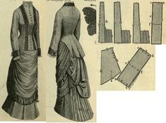 Mody Paryzkie 1880.: Summer walking dress, pattern to the gored skirt with additional pleats and drapery.