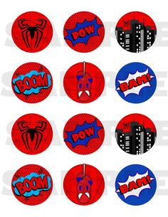 Superhero favor sticker - superheroes label - hero thank you tag - superhero party printable - super powers - spanish too - digital file Avengers Birthday, Superhero Birthday Party, 3rd Birthday Parties, Birthday Party Decorations, Spiderman Theme, Spiderman Stickers, Spiderman Cupcake Toppers, Jaco, Camilla